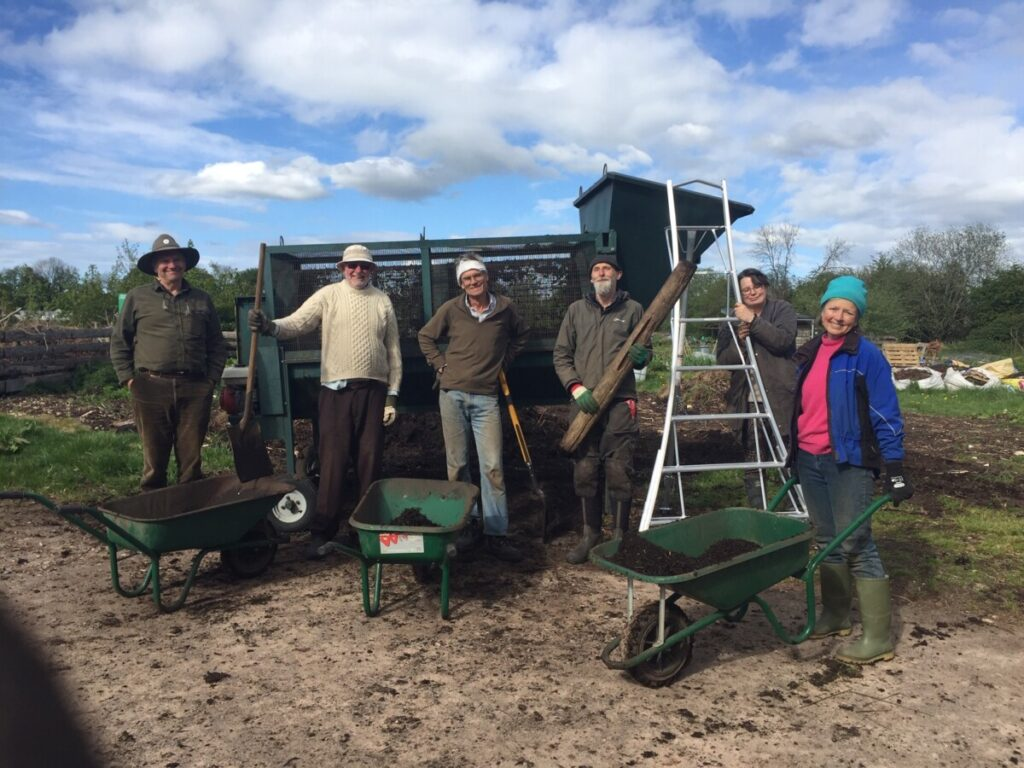 Tuesday's sieving team at Bisley Community Composting Scheme